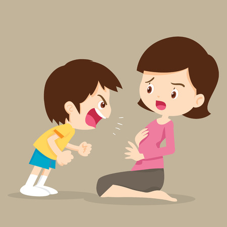 mom and son: Angry boy shouting at mother.Boy Shouting At Her Mom action cartoon vector illustration.