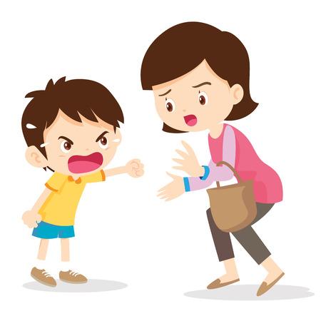 Niño gritando enojado con mother.Boy Grita En Su Mama en el fondo blanco ilustración vectorial de dibujos animados. Ilustración de vector