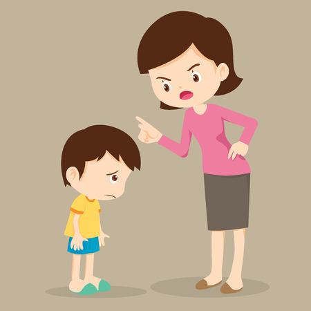 La madre regaña a su hijo; la madre se enoja con su hijo y lo culpa; la mamá regaña a los niños. Ilustración de vector