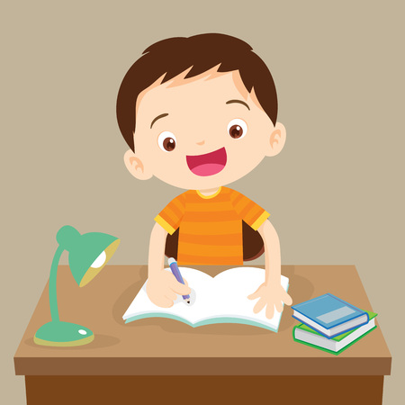 assignments: Cute boy writing and thinking be happy. Vector illustration of a little boy writing at his desk.Caucasian student boy at his desk writing for homework.