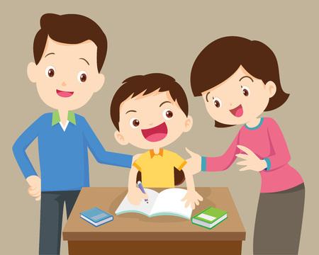 vader en moeder helpen zoon om homework.family huiswerk samen op home.portrait van een familie tekenen bij table.Mother en vader huiswerk met hun kinderen