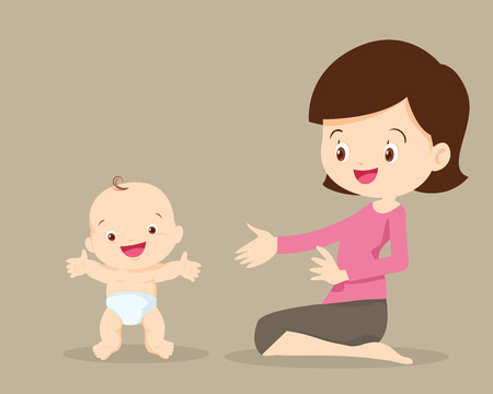 baby development: Baby development stages.Vector illustration of mother with their infant baby standing up.