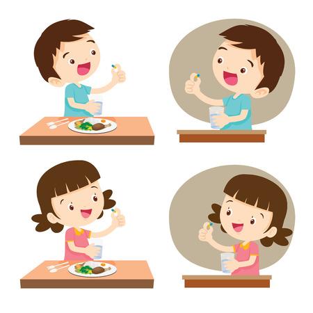 약을 복용하는 아이들. 약을 복용하는 아이들. 벡터 그림입니다. 귀여운 소년과 소녀 먹기 전에 식사 전에 물의 유리합니다. 일러스트