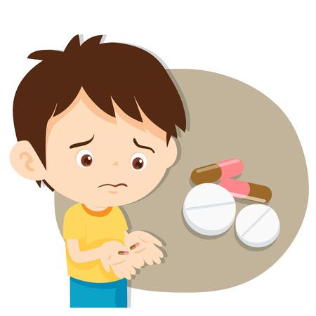 młody chłopak nie jest zadowolony z przyjmowania leków. Ilustracje wektorowe