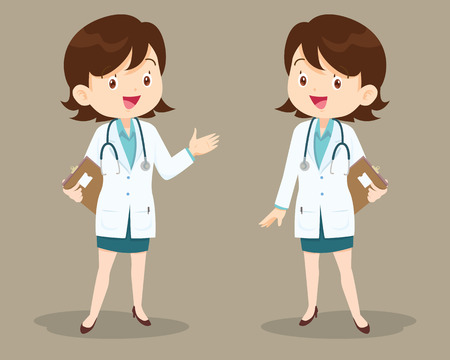 obstetrician: Smart woman doctor presenting in various action. character design.set of doctor character at hospital.Woman Doctor Holding Clipboard Talking, Physician, Hospital, Checkup, Patient, Healthy, Treatment, Personnel