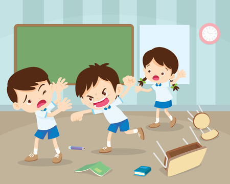 angry boy hitting him friend.Little angry boy shouting and hitting.Quarreling kids in classroom. Vettoriali
