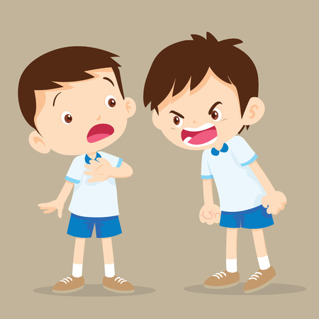 Quarreling kids. angry boy shouting at friend.Raging kids.children shouting to each other.