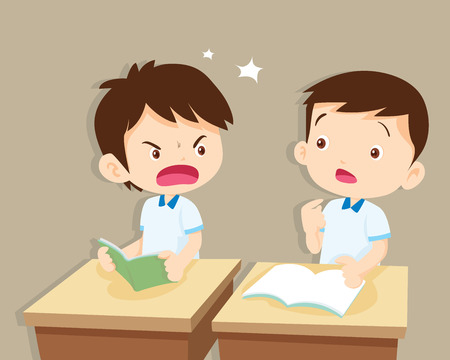 Ruziënde kinderen. boze jongen schreeuwen op friend.Raging kids.children schreeuwen naar elkaar other.pupils zitten op bureau Stock Illustratie