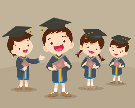 graduated: cute graduation students.Cute boys and girls graduates. Vector set.Happy graduated students. Cheerful young graduated students be happy.