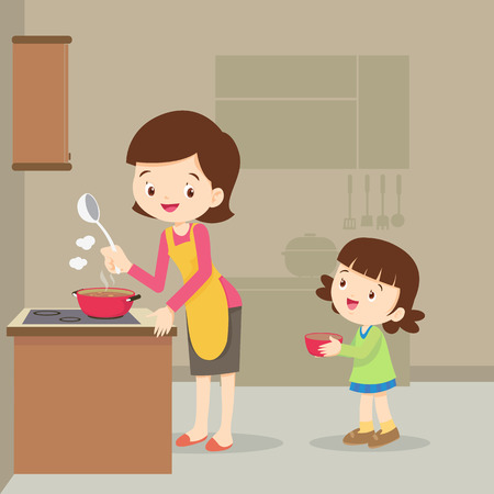 Vector Illustration of a mother and daughter cooking.girl and mother cooking in the kitchen.happy family with mom and children cooking in kitchen Vectores