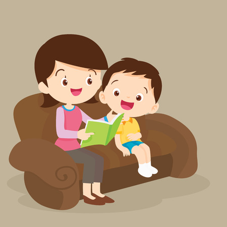 Child listening his mother read a storytelling book.Mother And Child Reading A Book Together Illustration.Family Reading a Book Together