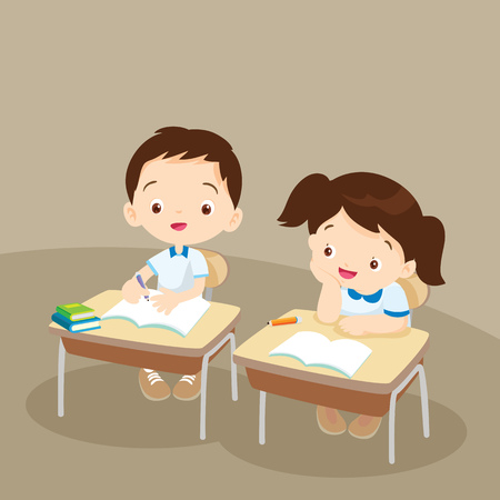 niños sentados: Estudiantes en el aula, el día del libro, de nuevo a escuela, papelería, libros, niños, chico y chica alumnos linda que se sienta en la sala de clase.