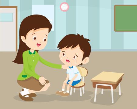 Woman teacher Comforting Her student Crying.Teacher Comforting Upset Elementary School Pupil.teacher comforting crying preschool boy. Stock Illustratie