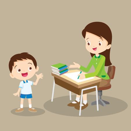 profesor alumno: Profesor que habla con el maestro student.The pidió a los chicos no answer.teacher trabajar y hablar con el estudiante Vectores