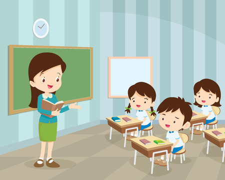 Teacher Teaching Students In Classroom, World Book Day, Back to school, Stationery, Book, Children,classroom with teacher and pupils. Stock Illustratie