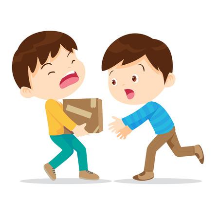 Chicos ayudan a levantar heavy.Young tiene kindness.The niño necesita help.Boy ayudar a su compañero para llevar pesada pila de box.Carrying una carga pesada. Ilustración de vector