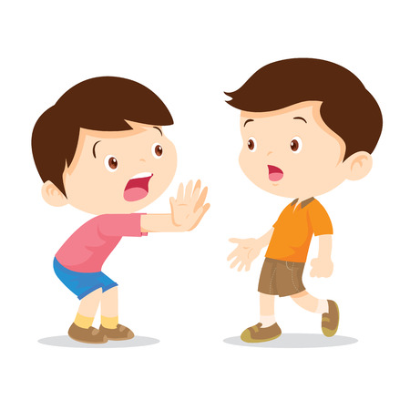 interdict: Child hand stop sign, Vector illustration Cartoon kids are showing a stop sign isolated on white background