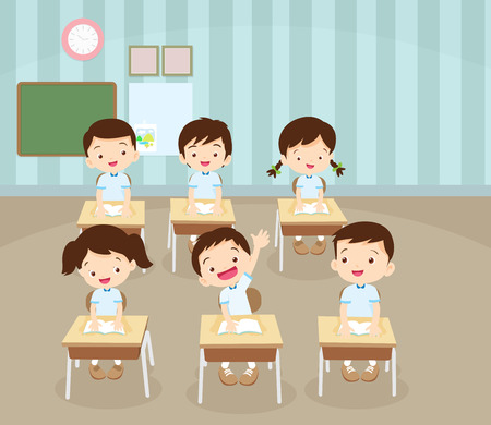 schoolmate: children boy sitting at school desk and hand up to answer.pupil raising hand in class. Illustration
