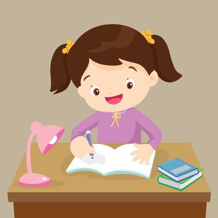 Ragazza cara che scrive e pensa sia felice. Illustrazione vettoriale di una bambina che scrive alla sua scrivania.