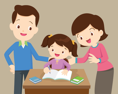 father and mother helping daughter to homework.family doing homework together at home.