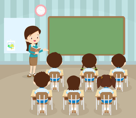 classroom supplies: classroom with teacher and pupils.Teacher Teaching Students In Classroom,World Book Day,Back to school,Stationery,Book,Children, Supplies, Educational Subject.