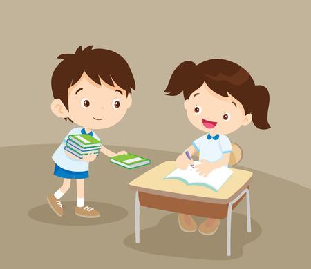 estudiante lindo niño dando libro para classroom.pupils amigo en el servicio es un amigo.