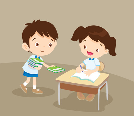 Cute boy student giving book for friend in classroom.pupils service a friend. Illustration