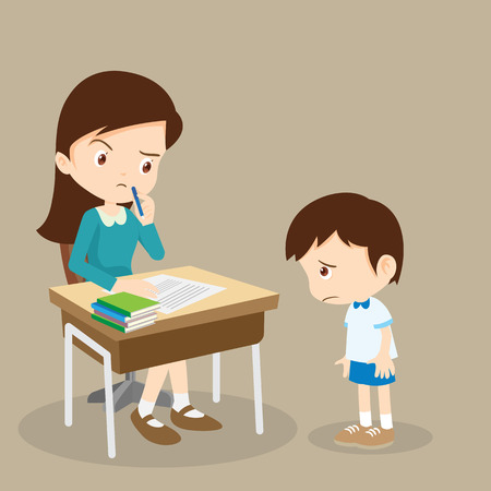 teacher reprimands guilty sad and bad pupil boy not learned his homework lesson.guilty student boy and teacher