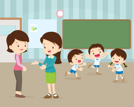 Parent meeting with teacher in classroom. Illustration