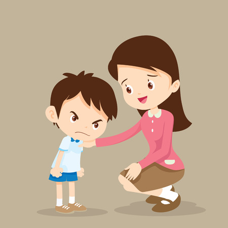 young teacher consoling angry boy. Vector Illustration