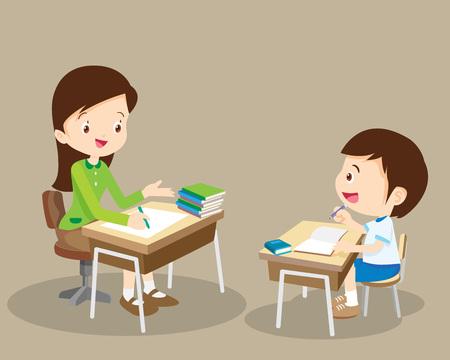 Woman teacher tutor tutoring boy kid at home. Mother helping son with homework.