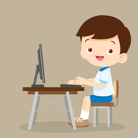 cute student boy working with computer.