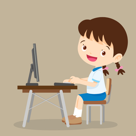 cute student girl working with computer.