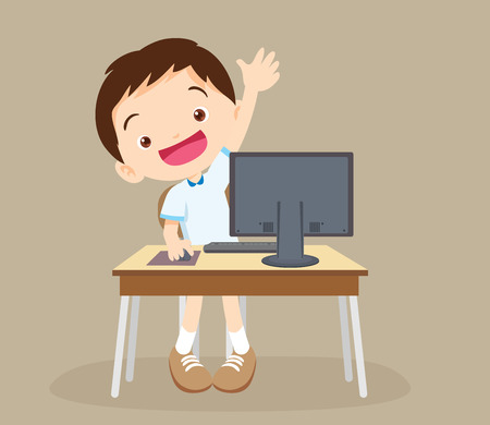 student boy  learning computer hand up. Иллюстрация