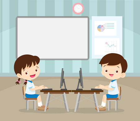 students learning with computer in classroom.