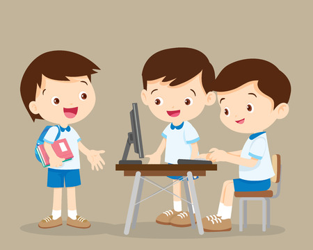 students working with computer.cute boys talk and playing computer. Vektorové ilustrace