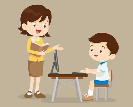 profesor alumno: profesor y muchacho del estudiante que aprende la computadora.