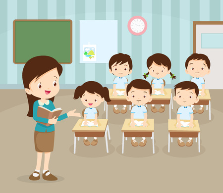 classroom with teacher and pupils.Teacher Teaching Students In Classroom,World Book Day,Back to school,Stationery,Book,Children, Supplies, Educational Subject.