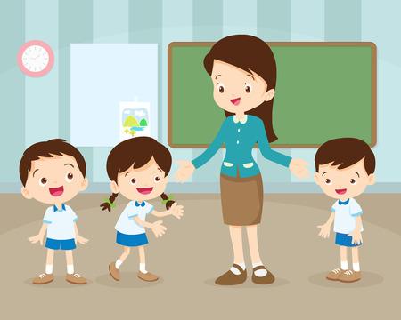 다시 학교로 교사와 교실에서 pupils.Teacher 교육 학생, 세계 책의 날, 교실, 문구, 도서, 어린이, 소모품, 교육 주제.