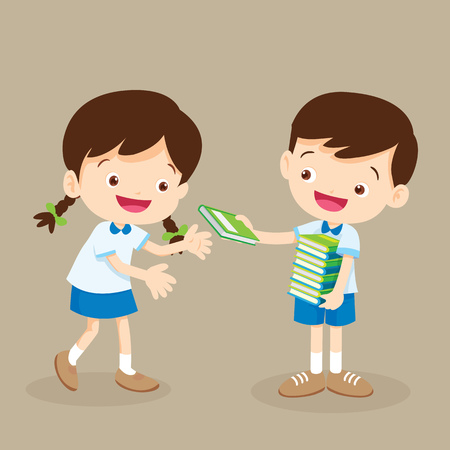 student boy give a book to friend. Stock Vector - 71072971