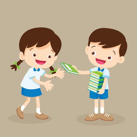 Student jongen geef een boek aan een vriend.