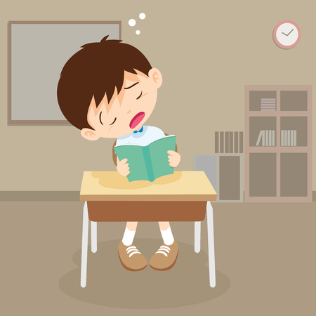 student boy sleeping in classroom. pupil sleepy on reading time.
