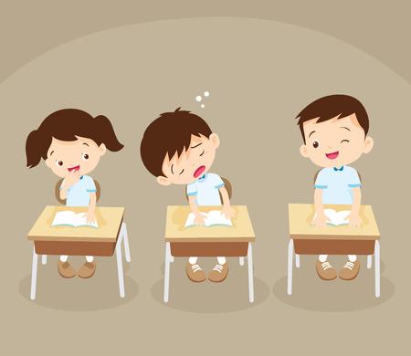 Student jongen slapen in de klas. Leerling slaperig aan het studeren.