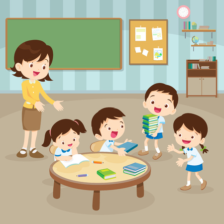 students and teacher in the event room. Stock Vector - 71073025