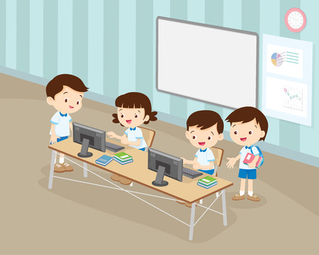 students boy and girl are working with computer in classroom.