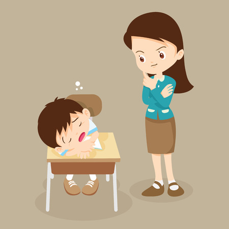 teacher looking at student boy sleeping in classroom. pupil sleepy on studying.