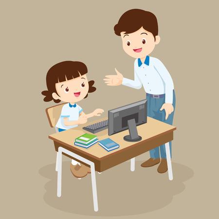 Teacher teaching computer to student girl.pupil studying computer class.