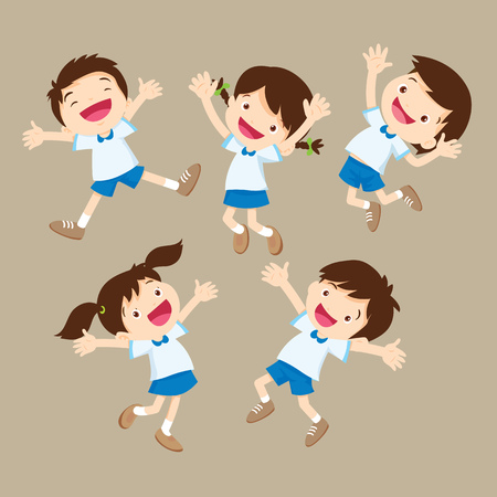 linda del muchacho del estudiante y salto de la chica sea feliz diversas acciones. Los niños pequeños sonriendo y saltando juntos. Ilustración de vector