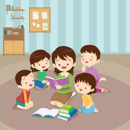 Teacher and kids, Children enjoy listening to stories teacher reading books. Zdjęcie Seryjne - 75199862