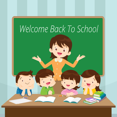 Welcome Back To School, Teacher and Students in front classroom.